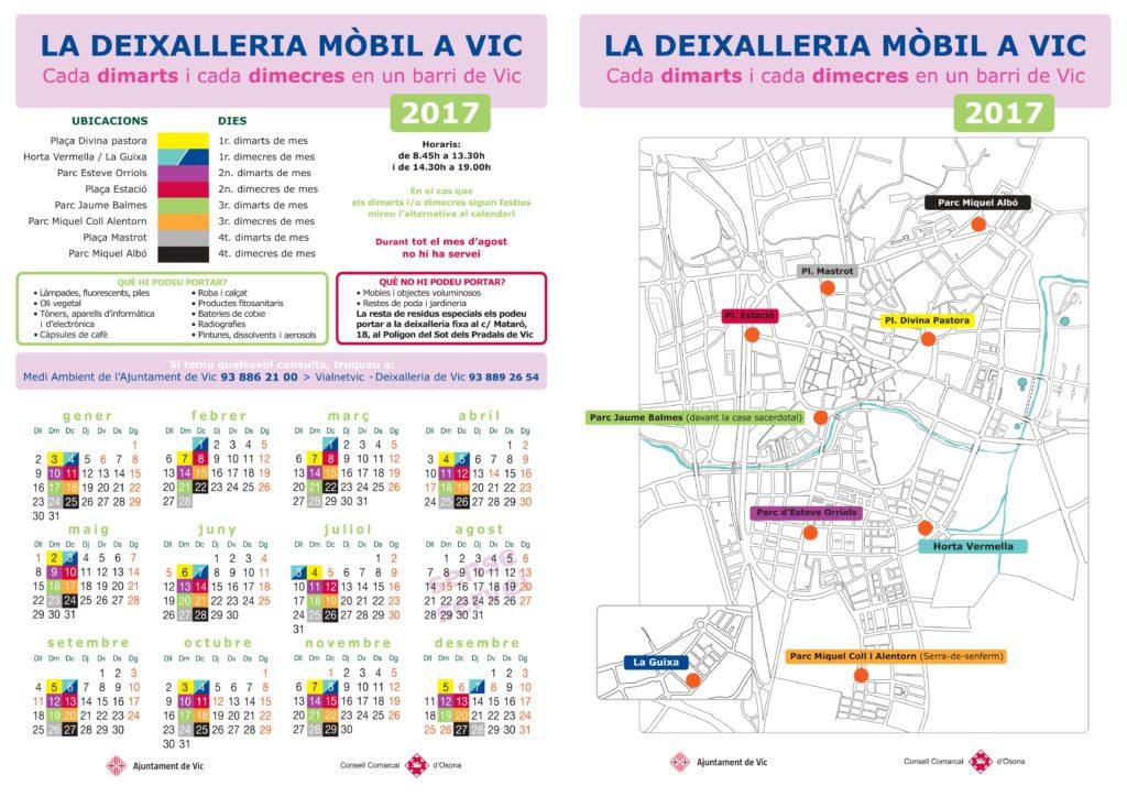 Calendari deixalleria mòbil de Vic